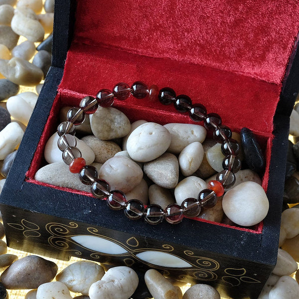 Akiki™ Smoky Quartz Bracelet for Detoxifying • Grounding • Moving Forward - Elastic - Natural  crystals - Customizable - Free jewelry pouch - Saatwa