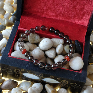 Akiki™ Libra Zodiac Bracelet - Elastic - Natural Smoky Quartz crystal - Customizable in length and bead size - Free jewelry pouch - Saatwa