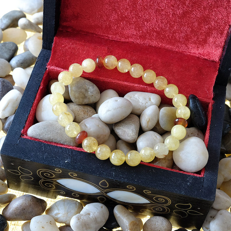 Leo Zodiac Bracelet - Akiki™ Natural citrine crystal - Customizable in length and bead size - Free jewelry pouch - Saatwa
