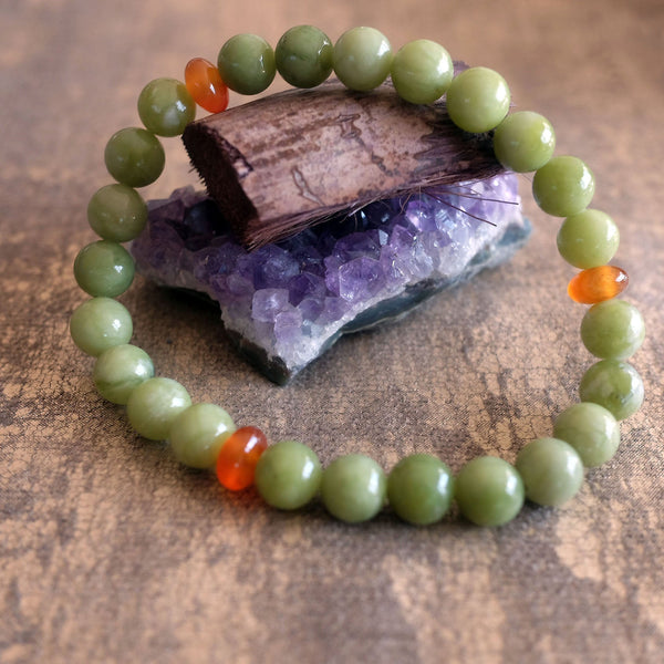 Akiki™ Chinese Jade Bracelet for Prosperity • Abundance • Opportunity - Elastic - Natural crystals - Customizable - Free jewelry pouch - Saatwa
