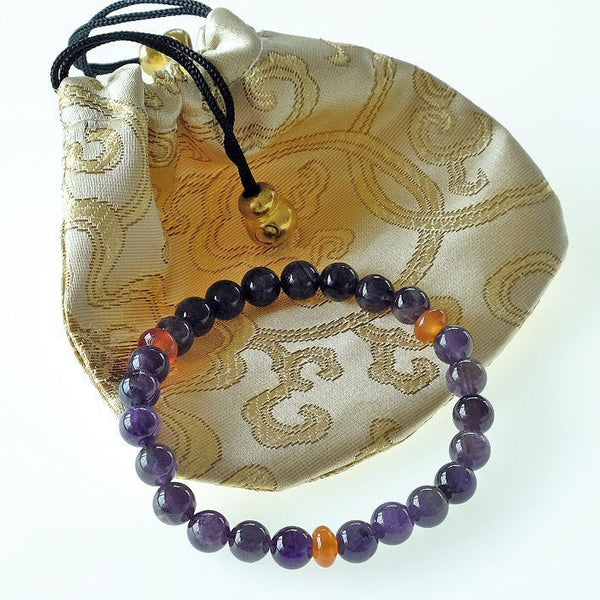 Akiki™ Aries Zodiac Bracelet - Elastic - Amethyst crystal -Customizable in length and bead size - Free jewelry pouch - Saatwa