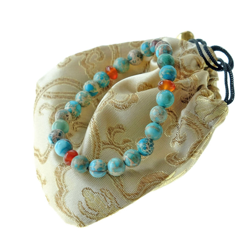 Akiki™ Turquoise Bracelet for Health • Healing • Renewal - Elastic - Natural crystals  - Customizable - Free jewelry pouch - Saatwa