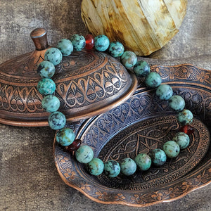 Akiki™ African Turquoise Bracelet for Health • Healing • Renewal - Elastic - Natural crystals - Customizable - Free jewelry pouch - Saatwa