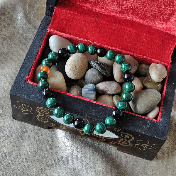 Akiki™ Malachite & Black Obsidian Bracelet - Elastic natural crystal bracelet - Customizable in length and bead size - Free jewelry pouch - Saatwa