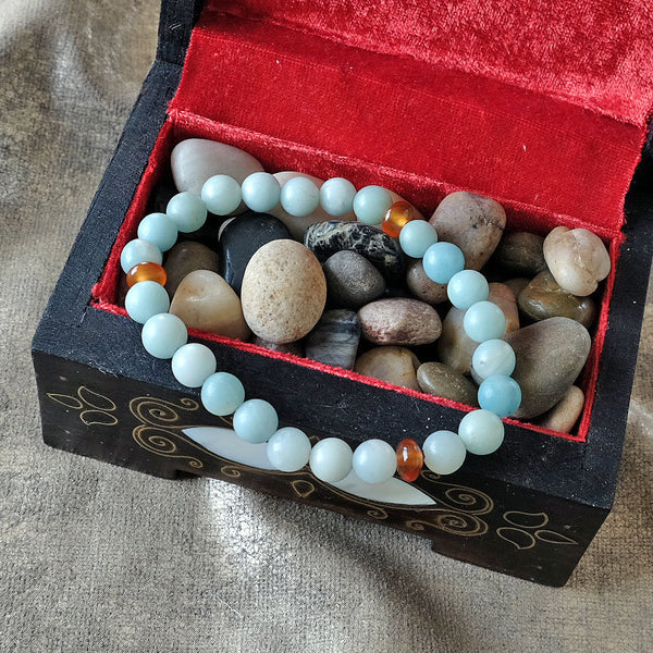 Bracelet to be hopeful - Amazonite crystal - Optimism • Hope • Playfullness - Elastic - Customizable in length and bead size - Free pouch - Saatwa