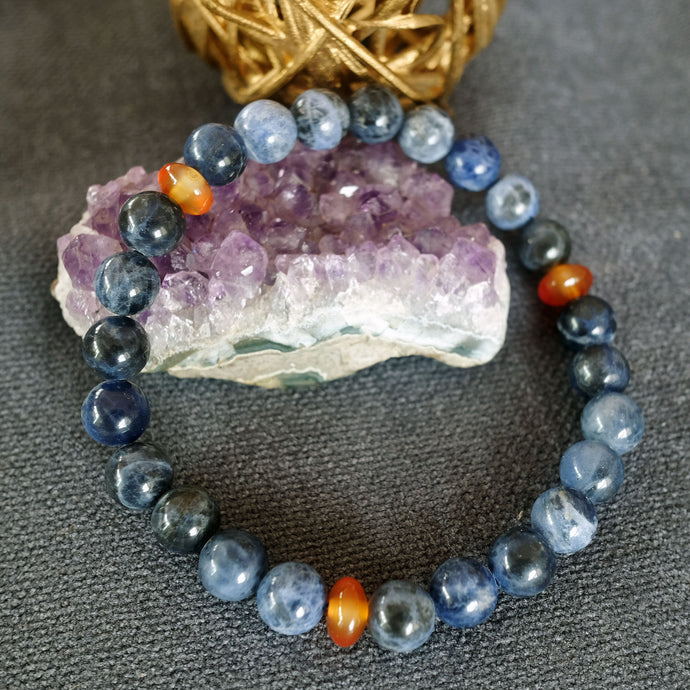 Akiki™ Sodalite Bracelet for Trust • Harmony • Communication - Elastic - Customizable in length and bead size - Free jewelry pouch - Saatwa