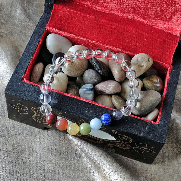 Espri™ Seven Chakra w/Rock Crystal Bracelet - Elastic - Natural healing crystals - Customizable in length and bead size - Free jewelry pouch - Saatwa