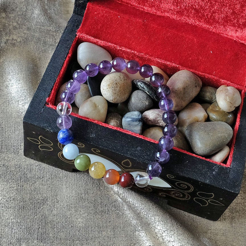 Espri™ Crown Chakra Bracelet - Elastic amethyst bracelet customizable in length and bead size - Free jewelry pouch - Saatwa