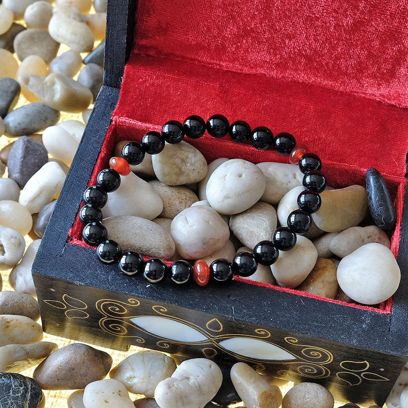 Akiki™ Black Tourmaline Bracelet for Protection • Security • Removing Negativity - Elastic - Natural crystals - Customizable - Free pouch - Saatwa