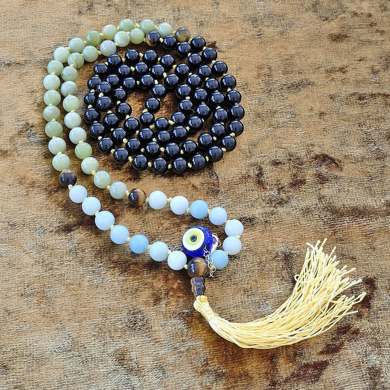 Japa Mala with Mayyea™  Natural Obsidian-Blue Aventurine-Amazonite crystals - Turkish Evil Eye Stone - Customizable - Free pouch - Saatwa