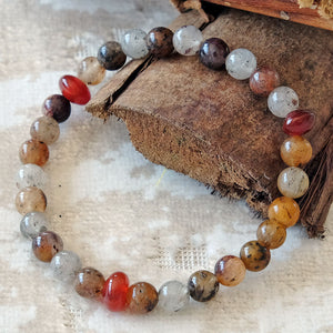 Akiki™ Lodolite Bracelet - Elastic - Natural healing crystals - Customizable in length and bead size - Free jewelry pouch - Saatwa