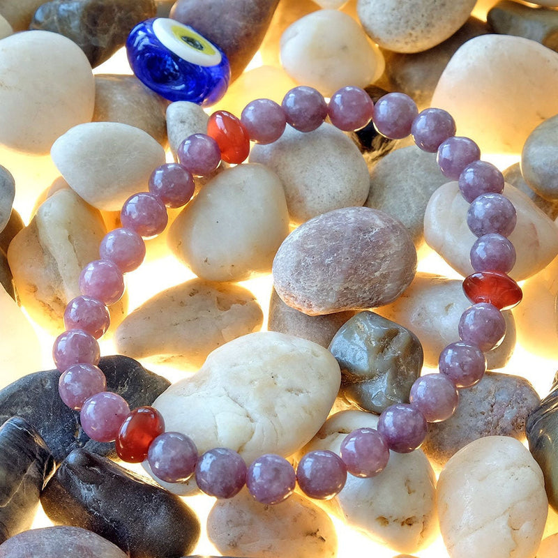 Bracelet for Anxiety • Peace • Sleep • Calm • Stabilizing - Akiki™ Natural Lepidolite crystals - Customizable - Free jewelry pouch - Saatwa