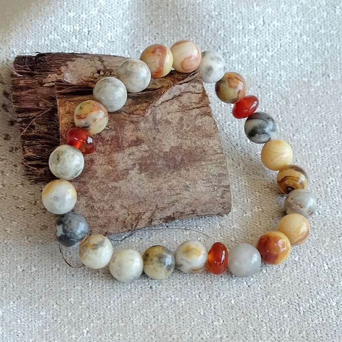 Akiki™ Crazy Agate Bracelet for Strength • Balance • Confidence - Elastic - Natural crystals - Customizable - Free jewelry pouch - Saatwa