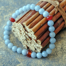 Load image into Gallery viewer, Akiki™ Angelite Bracelet - Elastic - Natural healing crystals - Customizable in length and bead size - Free jewelry pouch - Saatwa