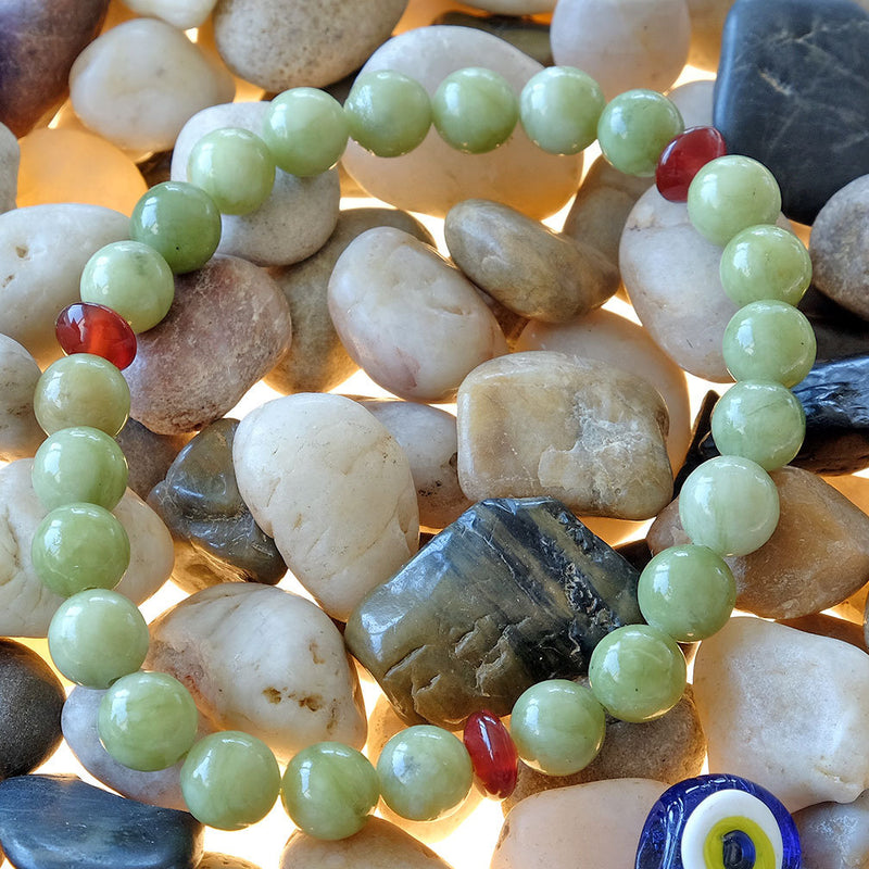 Bracelet for Prosperity • Abundance • Opportunity - Akiki™ Natural Green Jade crystals - Customizable - Free jewelry pouch - Saatwa