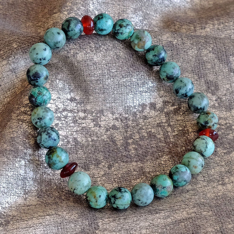Bracelet for Health • Healing • Renewal - Akiki™ Natural African Turquoise crystals - Customizable - Free jewelry pouch - Saatwa
