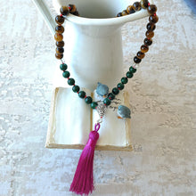 Load image into Gallery viewer, Mayyea™ Japa Mala against Depression - Natural Malachite-Tiger Eye-Lava Stones - Silk Tassel - Knotted - Customizable - Free pouch - Saatwa
