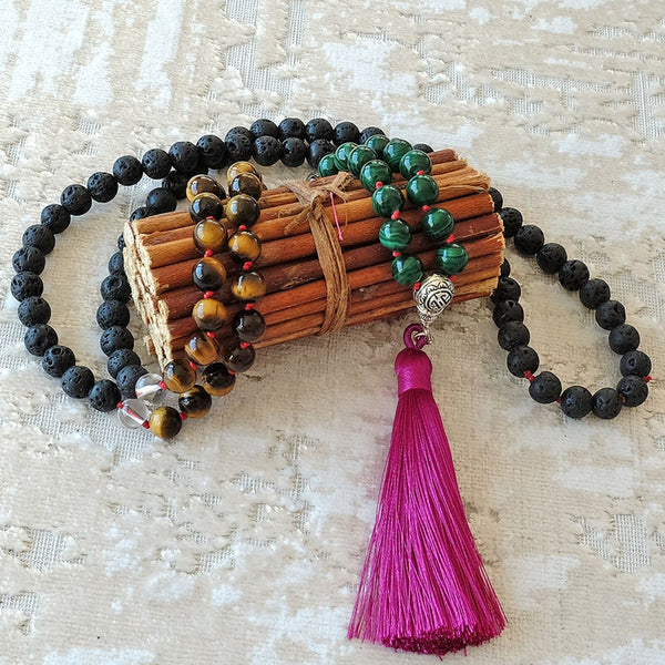 Mayyea™ Japa Mala against Depression - Natural Malachite-Tiger Eye-Lava Stones - Silk Tassel - Knotted - Customizable - Free pouch - Saatwa