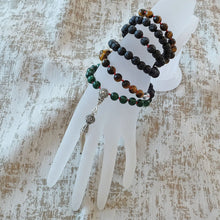 Load image into Gallery viewer, Mayyea™ 925 Silver Tassel Japa Mala against Depression - Natural Malachite-Tiger Eye-Lava Stones - Knotted - Customizable - Free pouch - Saatwa