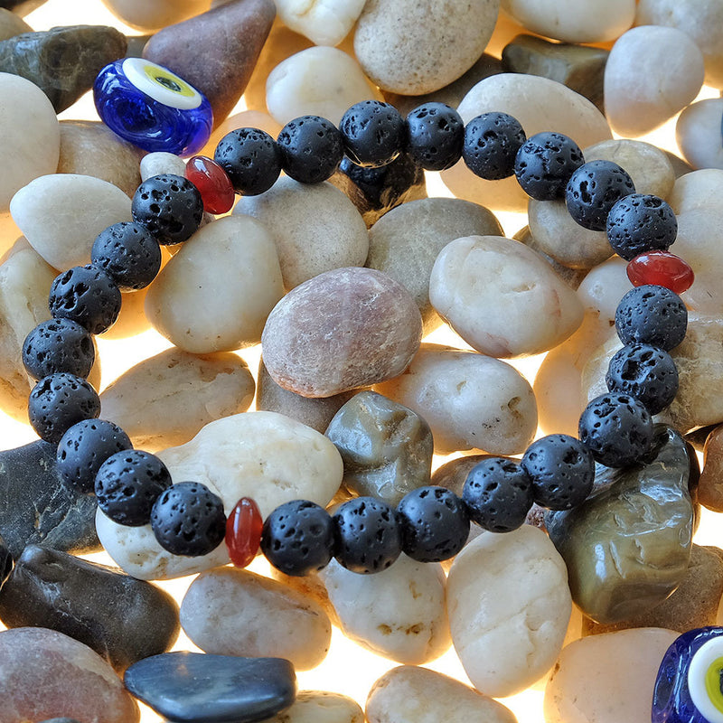 Lava Bracelet - Akiki™ natural healing crystals - Customizable in length and bead size - Free jewelry pouch - Saatwa