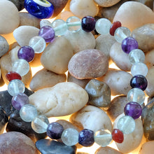 Load image into Gallery viewer, Akiki™ Rainbow Fluorite Bracelet - Elastic - Natural healing crystals - Customizable in length and bead size - Free jewelry pouch - Saatwa