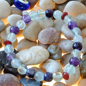 Akiki™ Rainbow Fluorite Bracelet - Elastic - Natural healing crystals - Customizable in length and bead size - Free jewelry pouch - Saatwa