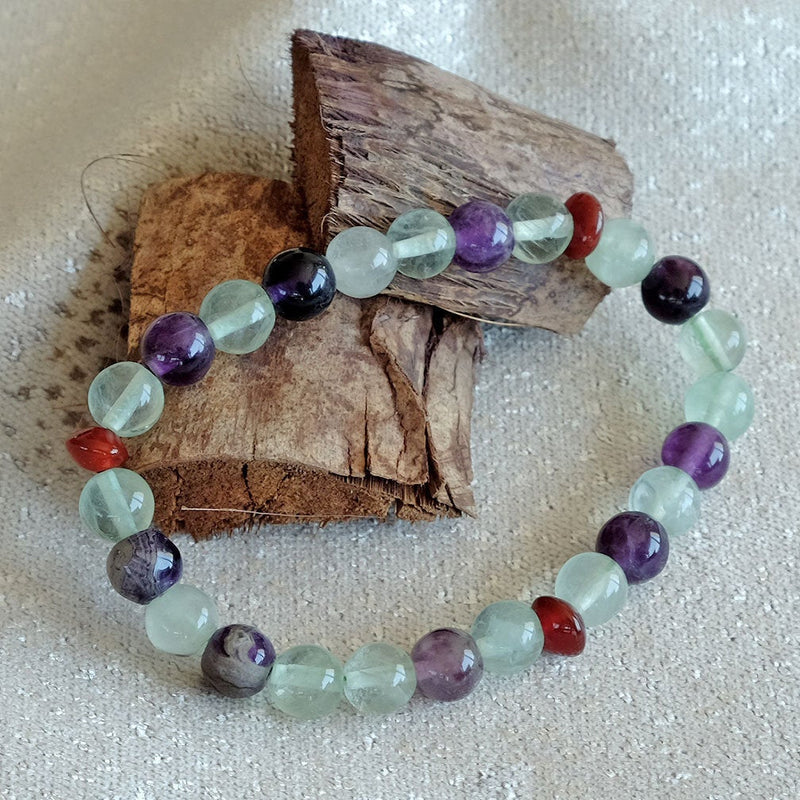 Rainbow Fluorite Bracelet - Akiki™ Natural healing crystals - Customizable in length and bead size - Free jewelry pouch - Saatwa