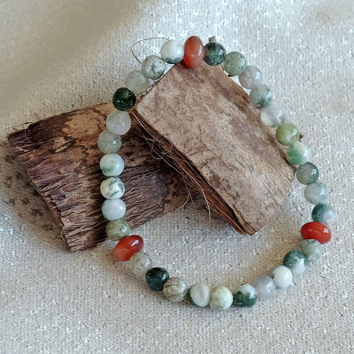 Akiki™ Tree Agate Bracelet for Strength • Balance • Confidence - Elastic - Natural crystals - Customizable - Free jewelry pouch - Saatwa