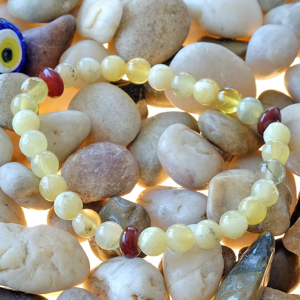 Akiki™ Yellow Opal Bracelet - Elastic - Natural healing crystals - Customizable in length and bead size - Free jewelry pouch - Saatwa