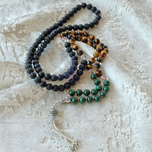 Mayyea™ 925 Silver Tassel Japa Mala against Depression - Natural Malachite-Tiger Eye-Lava Stones - Knotted - Customizable - Free pouch - Saatwa