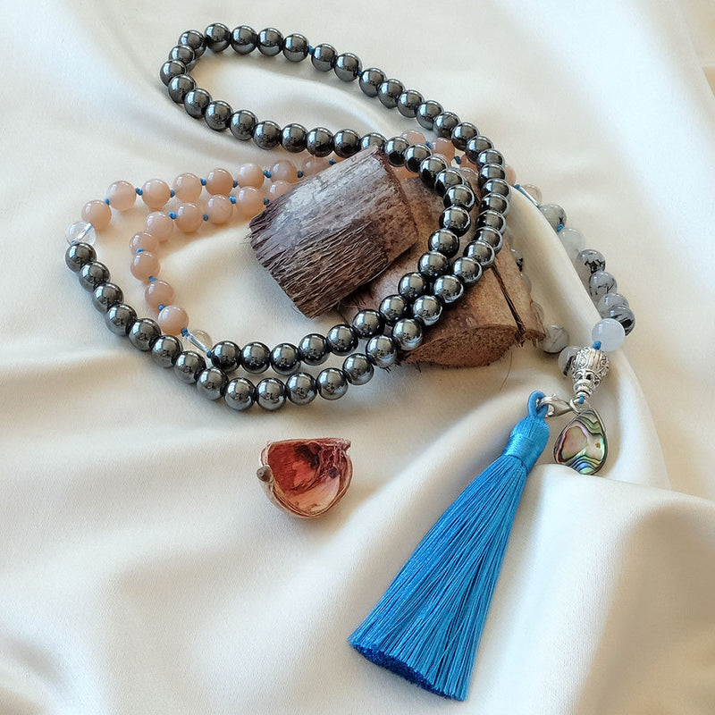Mayyea™ Japa Mala for Strength - Rutilated Quartz - Sunstone - Hematite Stones - Abalone Shell - Silk Tassel - Knotted - Customizable - Saatwa