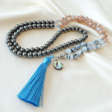 Load image into Gallery viewer, Mayyea™ Japa Mala for Strength - Rutilated Quartz - Sunstone - Hematite Stones - Abalone Shell - Silk Tassel - Knotted - Customizable - Saatwa