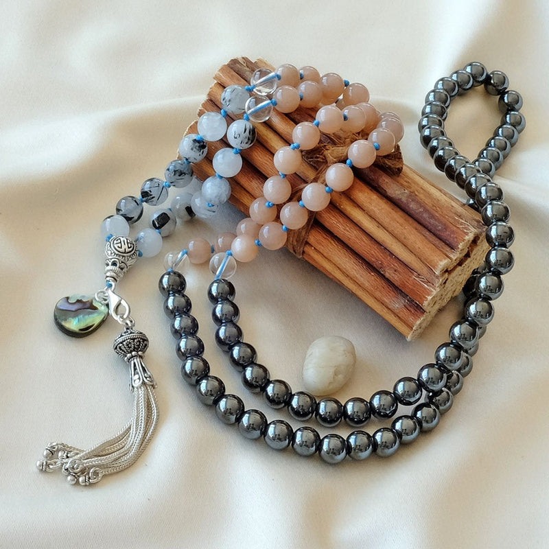 Mayyea™ Japa Mala for Strength - Rutilated Quartz - Sunstone - Hematite Stones - Abalone Shell - Silver Tassel - Knotted - Customizable - Saatwa
