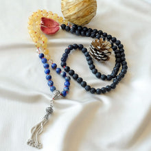Load image into Gallery viewer, Mayyea™ Japa Mala for Abundance & Relaxation with 925 Silver Tassel - Natural Lapis Lazuli-Citrine-Lava Stones - Customizable - Free pouch - Saatwa