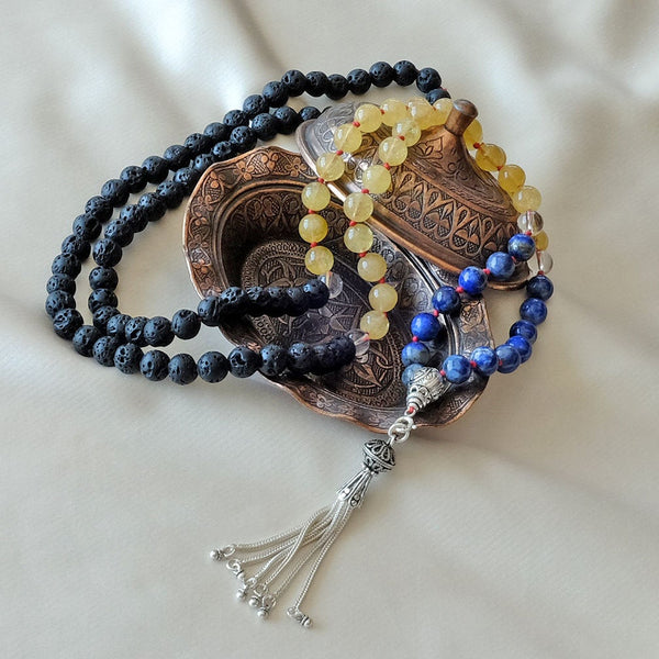 Mayyea™ Japa Mala for Abundance & Relaxation with 925 Silver Tassel - Natural Lapis Lazuli-Citrine-Lava Stones - Customizable - Free pouch - Saatwa