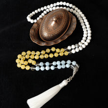 Load image into Gallery viewer, Mayyea™ Japa Mala for Better Learning and Study - Aquamarine, Citrine, Howlite Stones - Silk Tassel - Knotted - Customizable - Free pouch - Saatwa