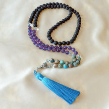 Load image into Gallery viewer, Mayyea™ Japa Mala for Public Speaking - Natural Turquoise, Amethyst, Lava Stones - Silk Tassel - Half Knotted - Customizable - Free pouch - Saatwa