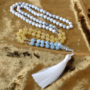 Mayyea™ Japa Mala for Better Learning and Study - Aquamarine, Citrine, Howlite Stones - Silk Tassel - Knotted - Customizable - Free pouch - Saatwa