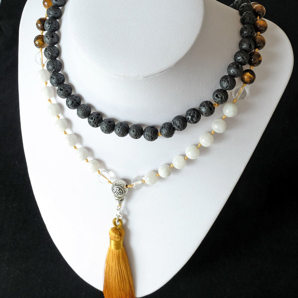 Mayyea™ Japa Mala for Good Luck - Moonstone, Tiger Eye, Lava Stones - Silk Tassel - Knotted - Customizable - Free pouch - Saatwa