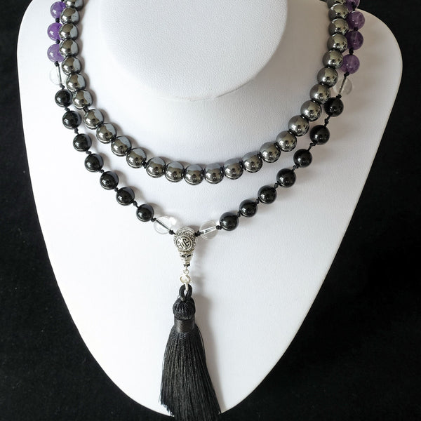Mayyea™ Japa Mala for Negotiation - Black Tourmaline, Amethyst, Hematite - Silk Tassel - Knotted - Customizable - Free pouch - Saatwa