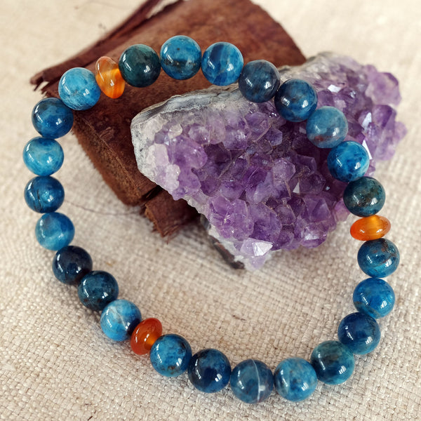 Bracelet for Inspiration • Ambition • Passion - Akiki™ Natural Apatite crystal - Customizable  - Free pouch - Saatwa