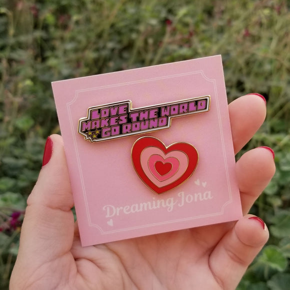 Heart and Love Makes the World Go Round Enamel Pins Bundle