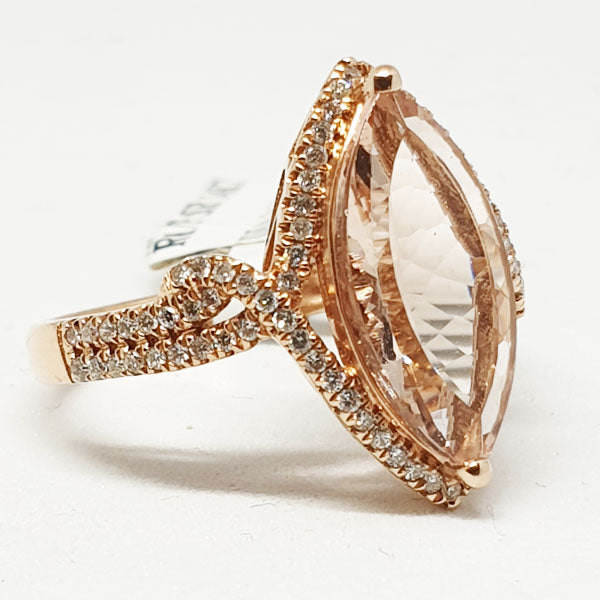 14kt Rose Gold Ring with Marquise Shape Morganite 3.19cts & 0.32ct Round Brilliant Cut Diamonds