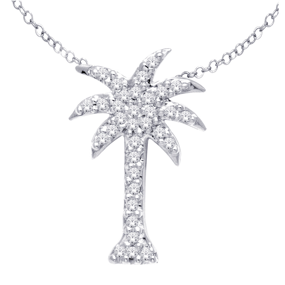 14K White Gold 1/10Ct Diamond Palm Tree Pendant