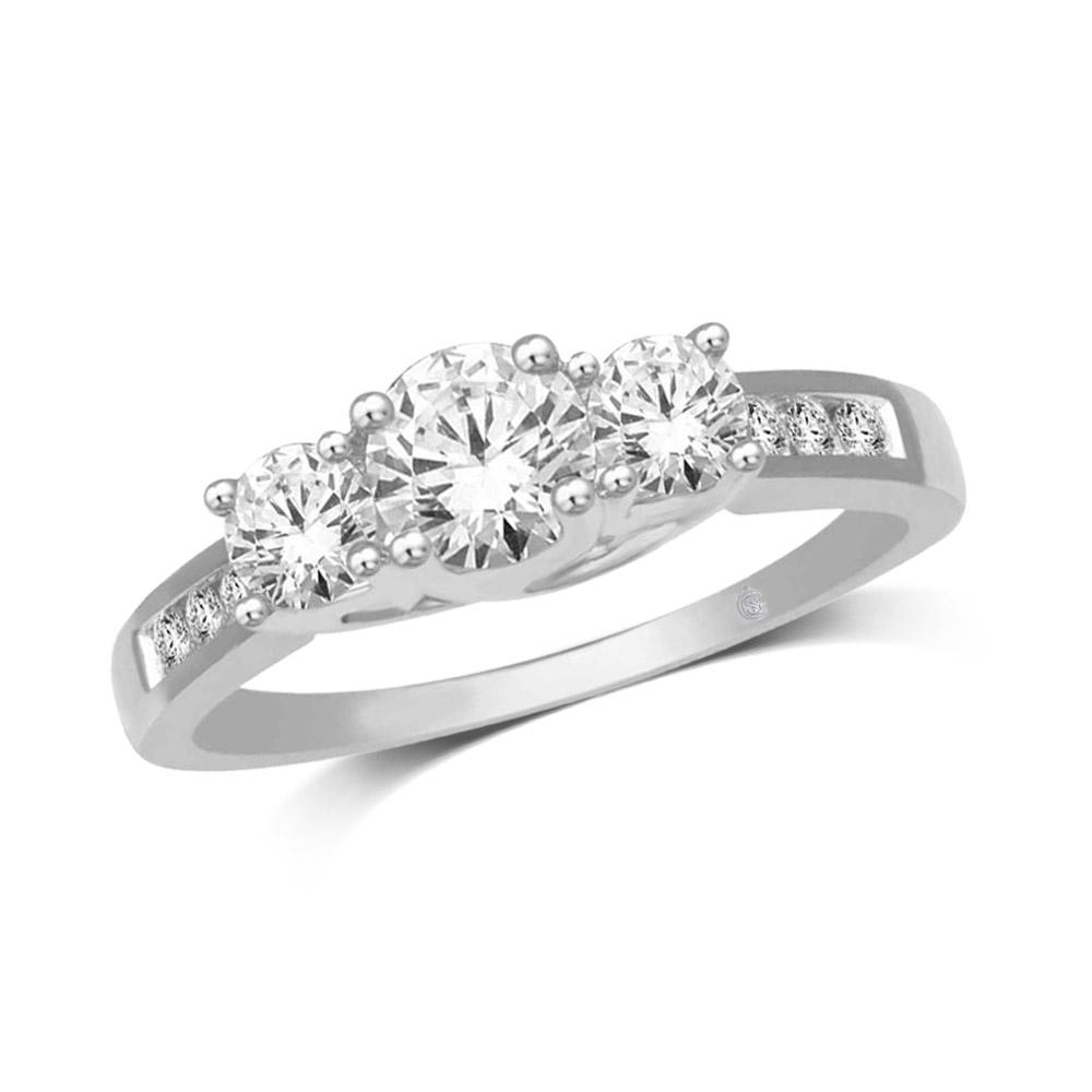 10K White Gold 1/2 Ct.Tw. Diamond Three Stone Ring