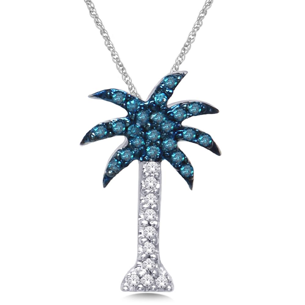 14K White Gold 1/10 Ct.Wt. Diamond Palm Tree Pendant