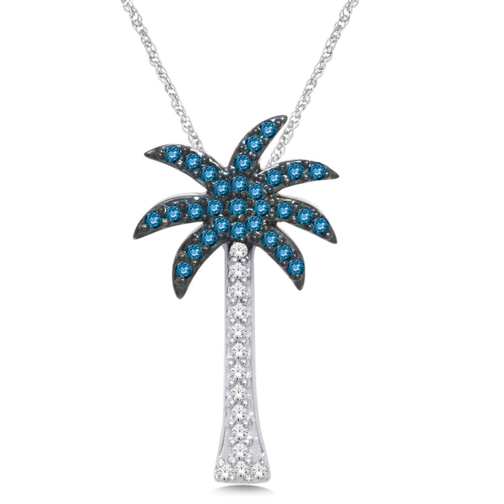 14K White Gold 1/4 Ct.Tw. Diamond Palm Tree Pendant
