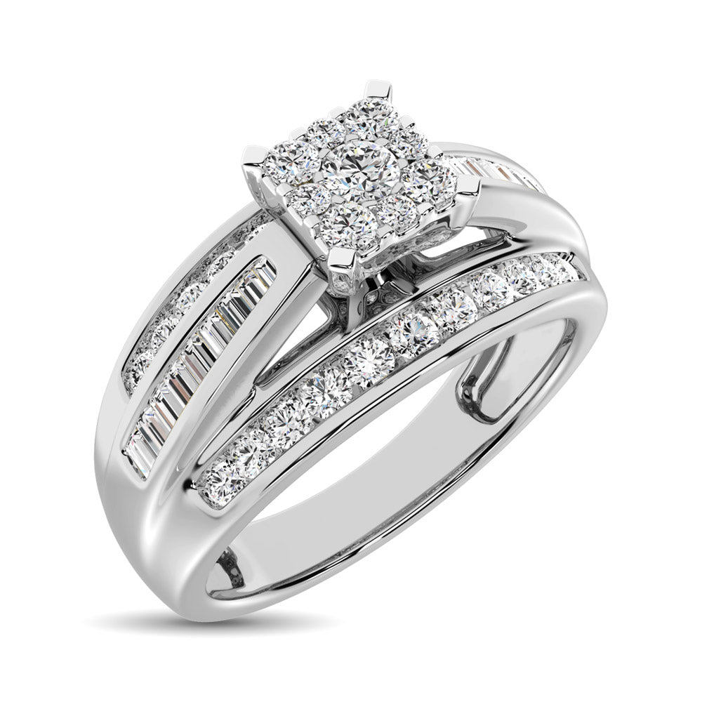 Sterling Silver 1/2 Ctw Diamond Square Frame Enagement Ring