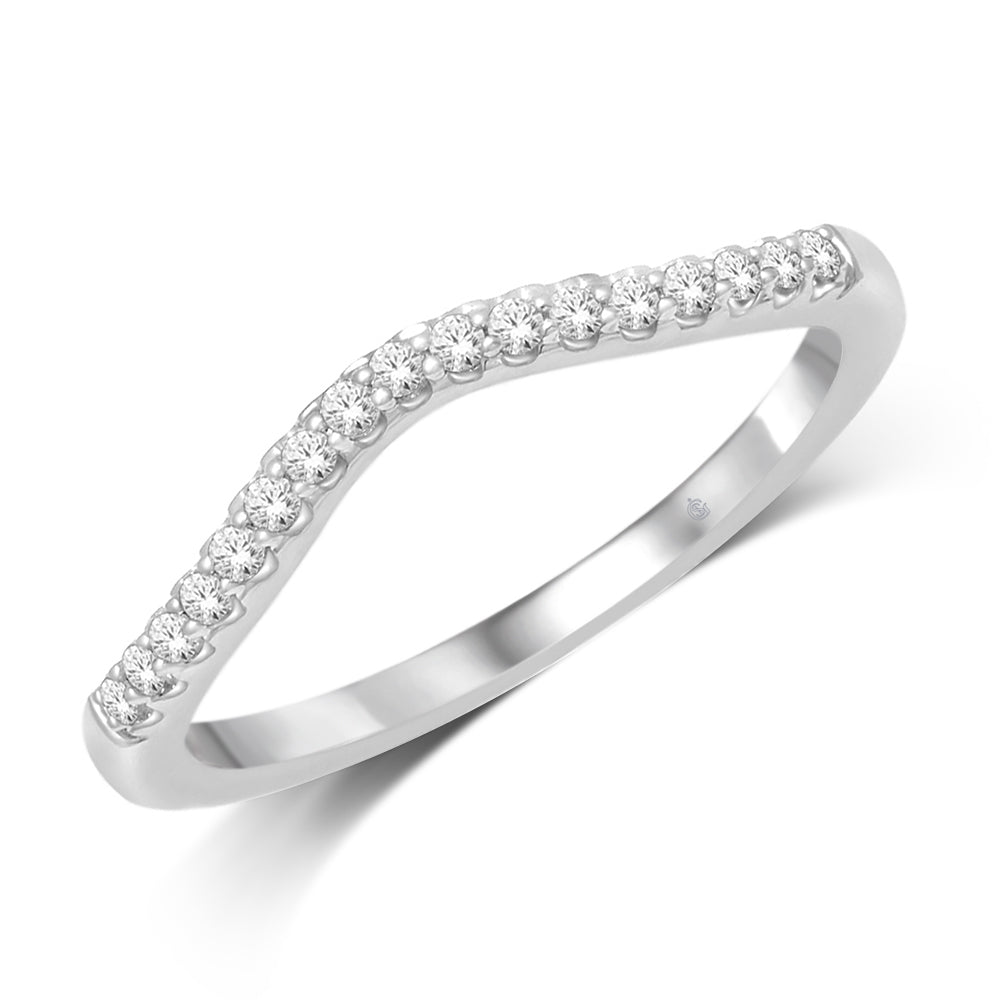 14K White Gold 1/6 Ct.Tw. Diamond Anniversary Band