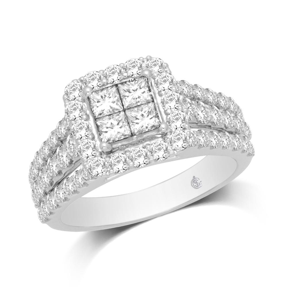 14K White Gold 2 Ct.Tw.Diamond Engagement Ring